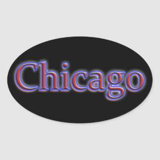 Chicago in Red and Blue - On Black Oval Stickers