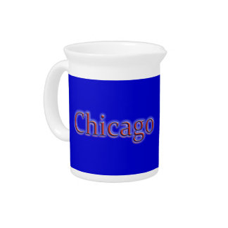 Chicago in Red and Blue - on Blue Pitcher