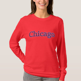Chicago in Red and Blue - On Red T-Shirt