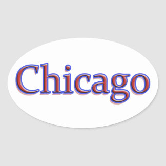 Chicago in Red and Blue - On White Stickers