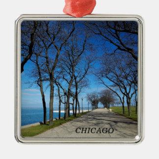 Chicago-Invierno Adorno Cuadrado Plateado