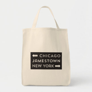 Chicago-Jamestown-New York Grocery Tote (black) Tote Bags