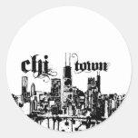 """Chicago """"ji-ciudad"""" puso para su ciudad etiqueta redonda"""