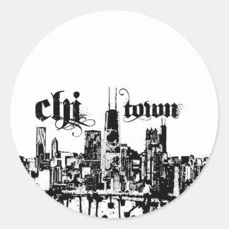 Chicago ji-ciudad puso para su ciudad etiqueta redonda