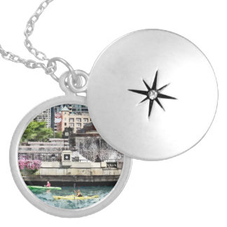 Chicago - Kayaking on the Chicago River Silver Plated Necklace