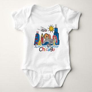 Chicago Kids Cute Skyline design Baby Bodysuit