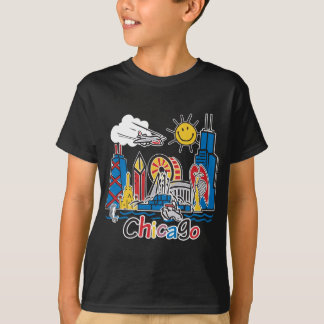 Chicago Kids Cute Skyline design T-Shirt