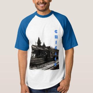 Chicago L 1950 Watercolor Sepia Photograph Subway T-shirt