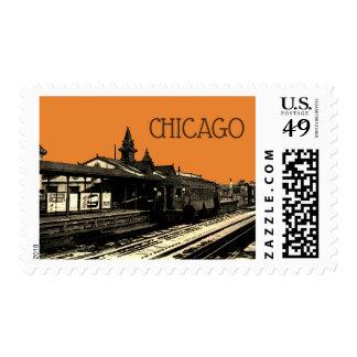 Chicago L 1950 Watercolor train  Photograph CTA Postage