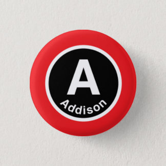 Chicago L Addison Red Line Pinback Button