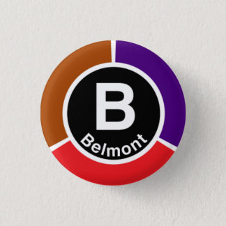 Chicago L Belmont Red/Brown/Purple Line Pinback Button