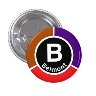 Chicago L Belmont Red/Brown/Purple Line Pinback Button