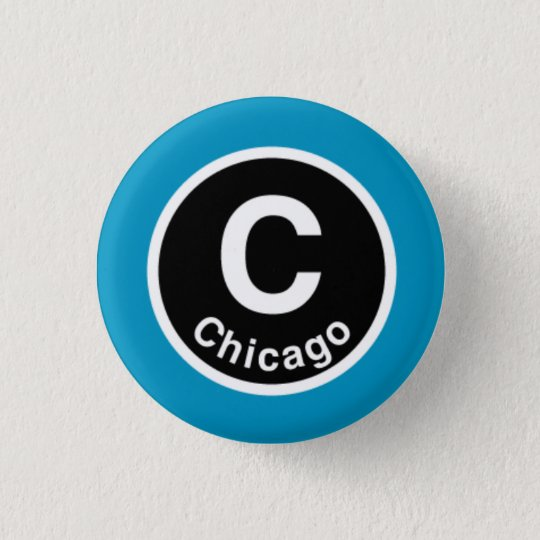 Chicago L Chicago Blue Line Pinback Button