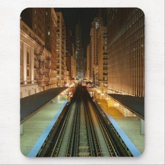 """Chicago """"L"""" estación en la noche Alfombrillas De Raton"""