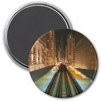 """Chicago """"L"""" estación en la noche Imán Redondo 7 Cm"""