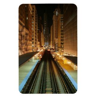 """Chicago """"L"""" estación en la noche Imanes"""