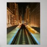 """Chicago """"L"""" estación en la noche Impresiones"""