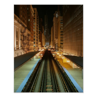 """Chicago """"L"""" estación en la noche Póster"""