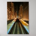 """Chicago """"L"""" estación en la noche Poster"""