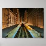 """Chicago """"L"""" estación en la noche Posters"""