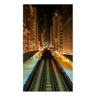 """Chicago """"L"""" estación en la noche Tarjetas De Visita"""
