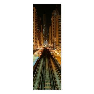 """Chicago """"L"""" estación en la noche Tarjetas De Visita Mini"""