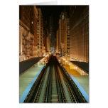 """Chicago """"L"""" estación en la noche Tarjeton"""