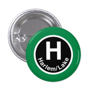 Chicago L Harlem Green L Pinback Button