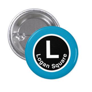 Chicago L Logan Square Blue Line Pinback Button