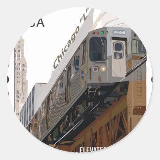 Chicago L sello Pegatina Redonda