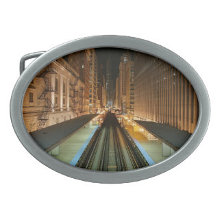 Chicago 'L' Station at Night Belt Buckle