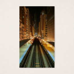 Chicago 'L' Station at Night Business Card
