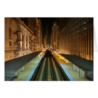 Chicago 'L' Station at Night Card