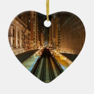 Chicago 'L' Station at Night Ceramic Ornament