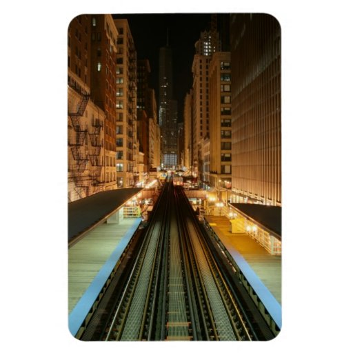 Chicago 'L' Station at Night Flexible Magnets