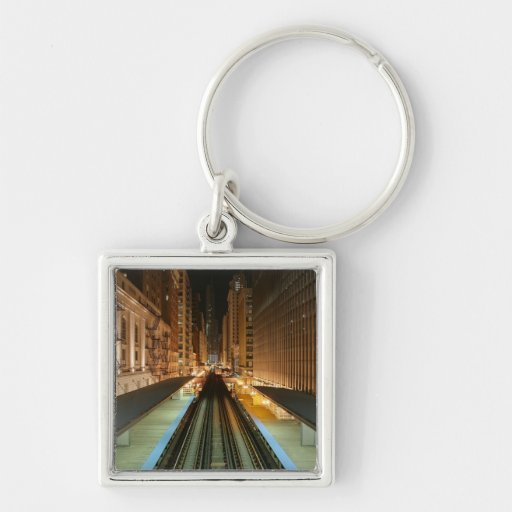 Chicago 'L' Station at Night Key Chains
