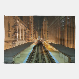 Chicago 'L' Station at Night Kitchen Towels