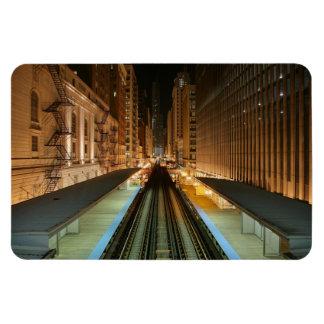 Chicago 'L' Station at Night Magnet
