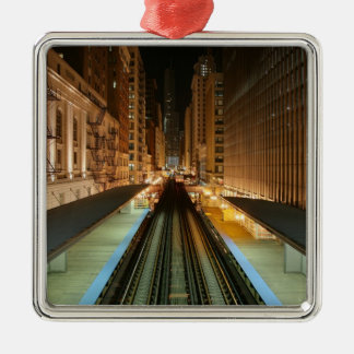 Chicago 'L' Station at Night Metal Ornament