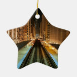 Chicago 'L' Station at Night Christmas Tree Ornament
