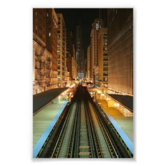 Chicago L Station at Night Photo Art
