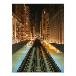 Chicago L Station at Night Art Photo
