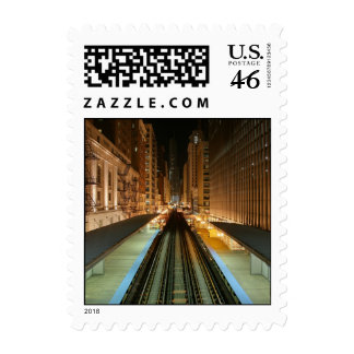 Chicago L Station at Night Stamps