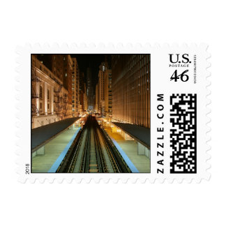 Chicago L Station at Night Postage Stamps