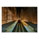 Chicago 'L' Station at Night Poster