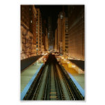 Chicago 'L' Station at Night Posters