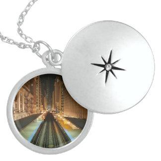 Chicago 'L' Station at Night Round Locket Necklace