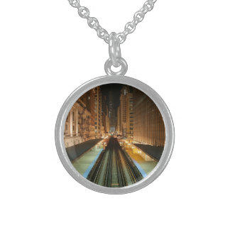 Chicago 'L' Station at Night Round Pendant Necklace