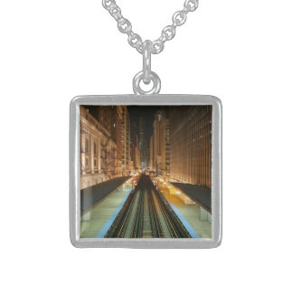 Chicago 'L' Station at Night Square Pendant Necklace