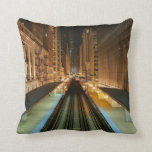 Chicago 'L' Station at Night Throw Pillow
